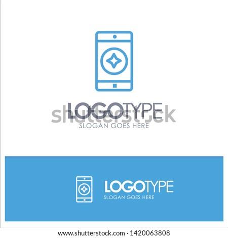 Favorite Mobile, Mobile, Mobile Application Blue Outline Logo Place for Tagline