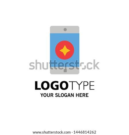 Favorite Mobile, Mobile, Mobile Application Business Logo Template. Flat Color
