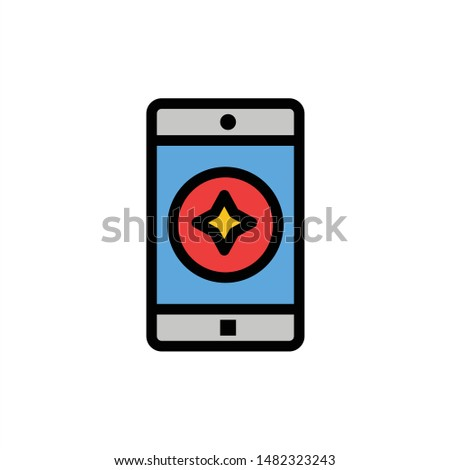 Favorite Mobile, Mobile, Mobile Application  Flat Color Icon. Vector icon banner Template