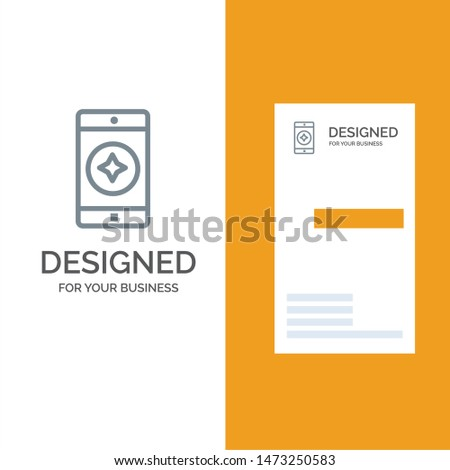 Favorite Mobile, Mobile, Mobile Application Grey Logo Design and Business Card Template