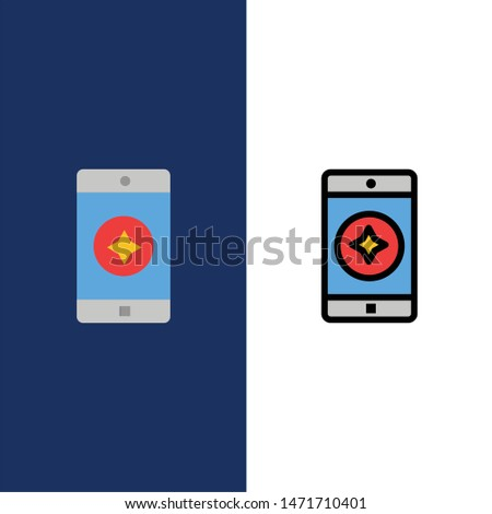 Favorite Mobile, Mobile, Mobile Application  Icons. Flat and Line Filled Icon Set Vector Blue Background