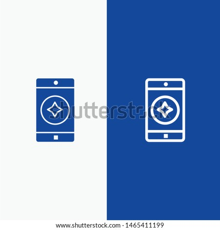 Favorite Mobile, Mobile, Mobile Application Line and Glyph Solid icon Blue banner Line and Glyph Solid icon Blue banner. Vector Icon Template background