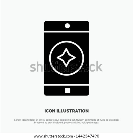 Favorite Mobile, Mobile, Mobile Application solid Glyph Icon vector