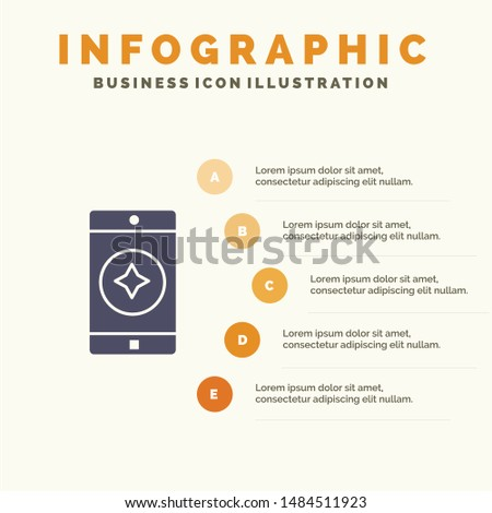 Favorite Mobile, Mobile, Mobile Application Solid Icon Infographics 5 Steps Presentation Background. Vector Icon Template background
