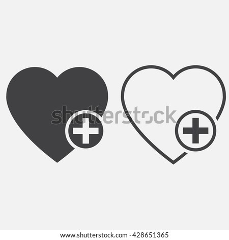 favorites line icon, heart plus outline and solid vector logo, linear pictogram isolated on white, pixel perfect illustration