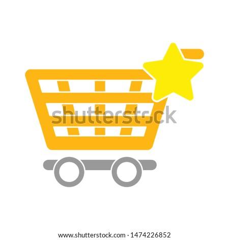 favorites shopping cart icon. flat illustration of favorites shopping cart vector icon. favorites shopping cart  sign symbol