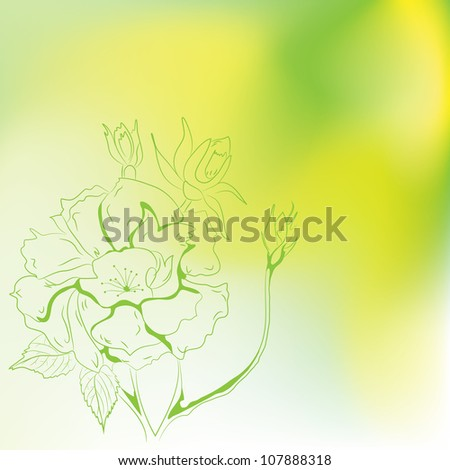 Fawn with handwritten flowers. Vector.