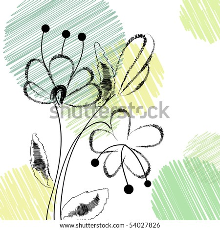 Fawn with handwritten flowers. Vector 10 eps.