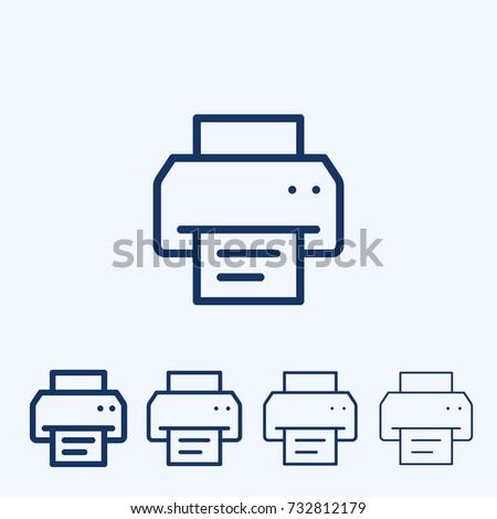 Fax vector sign icon. Printer symbol line art. Fax outline pictogram.