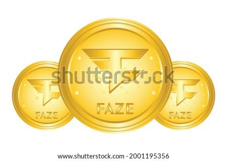 Faze coin crypto, faze logo with gold medal, for web, banner, sign, symbol, web,etc. vector eps10  Foto stock ©