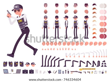 FBI agent character creation set. Federal Bureau of Investigation, national security concept, full length, different views, gestures. Build your own design. Cartoon flat-style infographic illustration