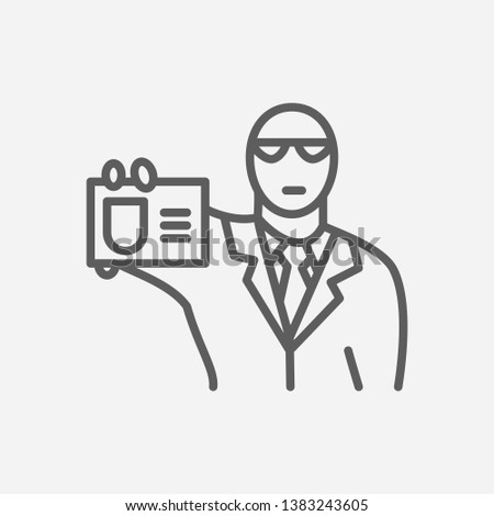 Fbi agent icon line symbol. Isolated vector illustration of  icon sign concept for your web site mobile app logo UI design.