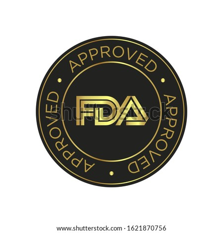 FDA Approved (Food and Drug Administration) icon, symbol, label, badge, logo, seal. Golden and black.