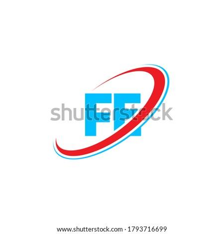 FE F E letter logo design. Initial letter FE linked circle uppercase monogram logo red and blue. FE logo, F E design. fe, f e Photo stock ©