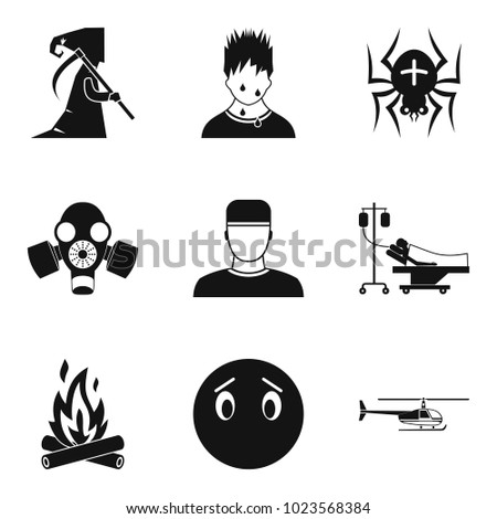 Fear icons set. Simple set of 9 fear vector icons for web isolated on white background