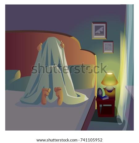 fear of darkness insomnia vector illustration under the blanket