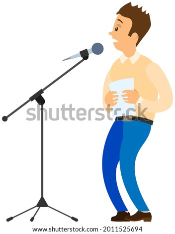 Fear of public speaking. Cartoon male character stands near microphone and trembles with fright. Man is afraid of giving presentation to audience. Social anxiety and mental health disorder glossphobia Stock photo ©