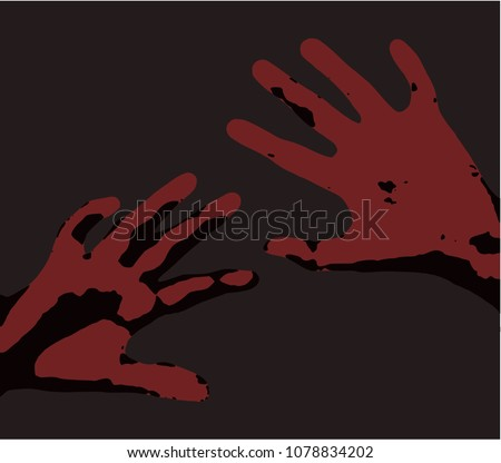 feared raised hands for protection Illustration of pain clean vector red hands over dark grey background rape sex abuse labour bullying social stigma trafficking