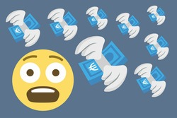 fearful face emoji with flying euro money,economic problems,financial loss,emotional stress,concept vector illustration