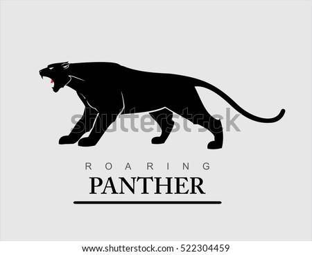 Fearless Panther. Roaring Predator. Roaring Panther. Elegant panther.