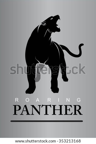 Fearless Panther. Roaring Predator. Roaring Panther.  Elegant panther. Panther full body. Roaring fang face combine with text.