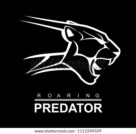 Fearless Panther. Roaring Predator. Roaring Panther. Panther half body. Roaring fang face. Combine with text