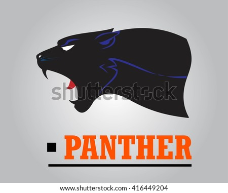 Fearless Panther. Roaring Predator. Roaring Panther. Panther head, elegant panther head. Roaring fang face.Black Panther Head combine with text.  Panther Mascot Head Vector Graphic. Dark Predator