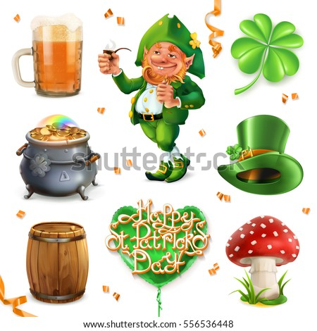 Feast of Saint Patrick. Leprechaun, beer and clover, 3d vector icon set