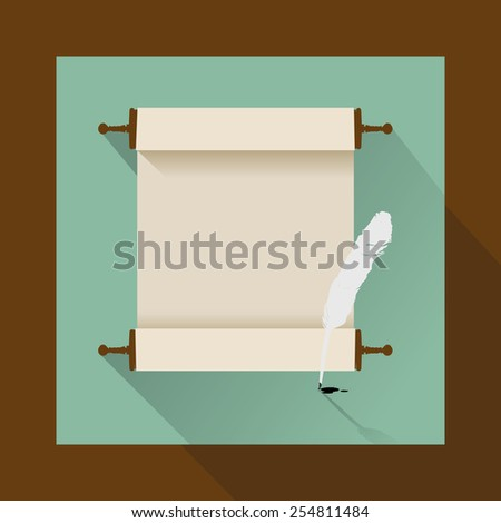 feather and ancient scroll on white