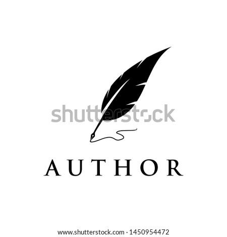 Feather, author / writer logo design Foto d'archivio ©