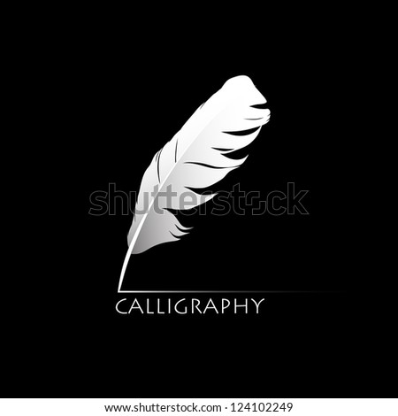 feather calligraphic pen vector