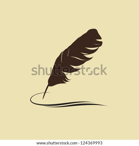 Feather calligraphic pen vector background