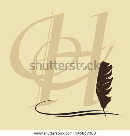 feather calligraphic pen vector