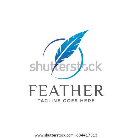 feather logo icon vector