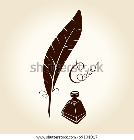 Feather pen ink calligraphic letter vector illustration. Vector hand drawn monochrome ancient pen. vintage quill