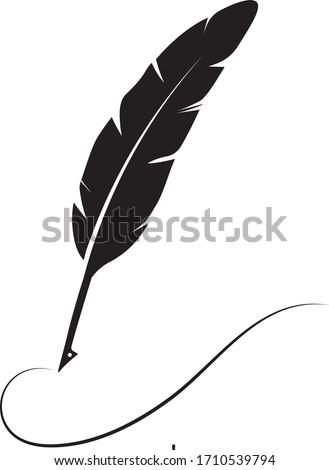 feather pen logo stock