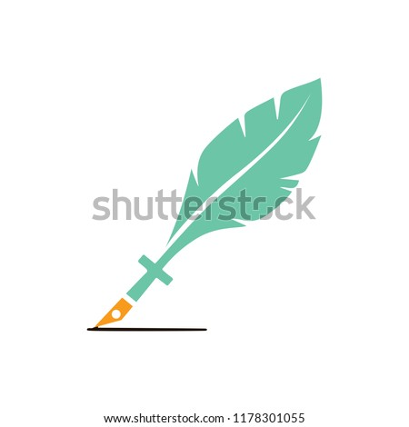 feather pen quill icon, vector ink illustration - calligraphy pen sign isolated