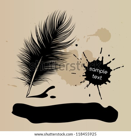 Feather pen vector drawing, quill, calligraphy tool with ink splatter.