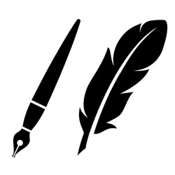 Feather pen vector icon on white background