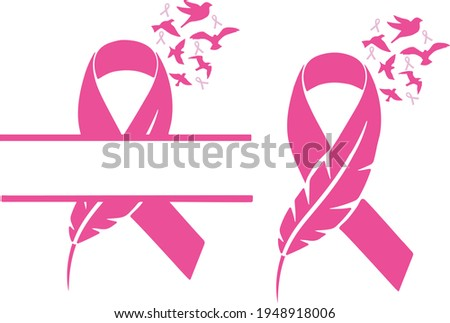 feather pink ribbon breast