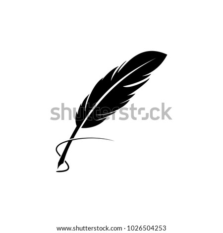 Feather quill pen icon, classic stationery illustration. Stock foto ©
