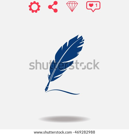 Feather vector icon on grey background.