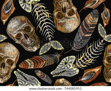 Feathers Fish Bone And Indian Skull Embroidery Seamless Pattern Beautiful Of Tropical Birds