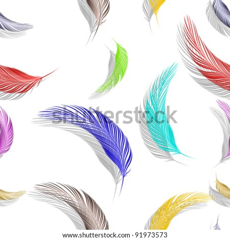 feathers seamless texture, abstract pattern; vector art illustration