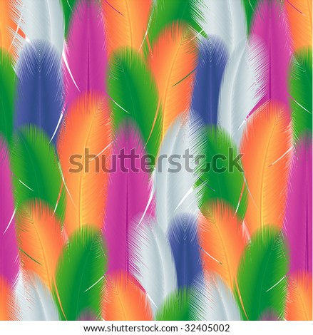 Feathers. Seamless vector texture.