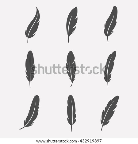 Shutterstock Feathers vector set in a flat style. Icons feathers isolated on a light background.