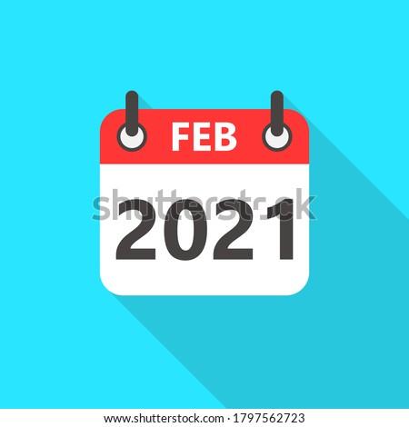 February 2021 Calendar Flat Style Icon Long Shadow. 2021 Business Calendar Planner Flat Vector Icon. Vector Illustration Stock photo ©