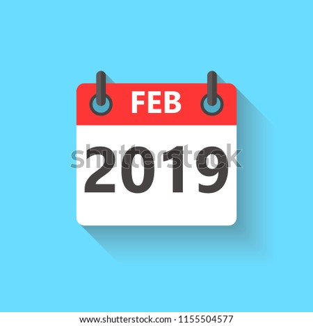 February 2019 calendar flat style icon with long shadow.