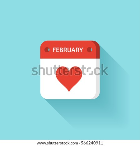 February 14. Calendar icon.Valentines day.Love.Vector illustration,flat style.Month and date.Sunday,Monday,Tuesday,Wednesday,Thursday,Friday,Saturday.Week,weekend,red letter day. 2017.Holidays.