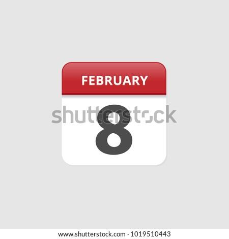 february 08 calendar icons